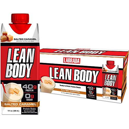 LABRADA - Lean Body Ready To Drink Whey Protein Shake, Convenient On-The-Go Meal Replacement Shake for Men & Women, 40 grams of Protein - Zero Sugar, Lactose & Gluten Free, Salted Caramel (Pack of 12) (Caramel Protein Shake)