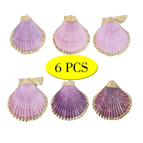 6 PCS Pack Natural Purple Large Sea Clam Shells Pendant Handmade Plated Real Gold Purple Scallop Shells Charms Bulk for Jewelry Making
