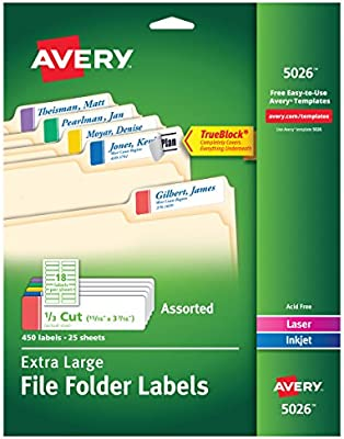 Amazon Avery Extra Large File Folder Labels In Assorted Colors