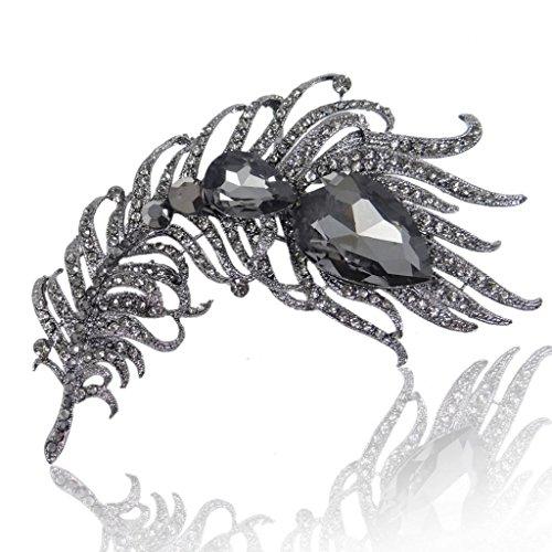 - EVER FAITH Women's Austrian Crystal 4 Inch Peacock Plume Teardrop Brooch Black Black-Tone