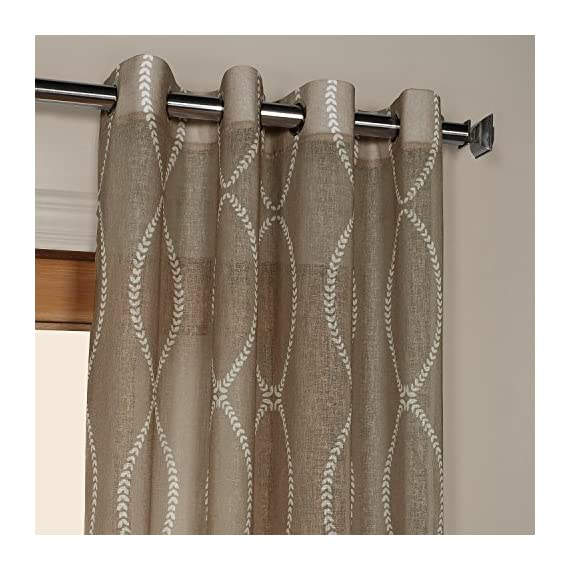 HPD Half Price Drapes SHCH-PS16071-120-GR Grommet Printed Sheer Curtain (1 Panel), 50 X 120, Grecian Taupe - Sold per panel 100Percent polyester Finished with 8 Nickel finish grommets (1-1/2Opening) - living-room-soft-furnishings, living-room, draperies-curtains-shades - 510ZOke0yvL. SS570  -