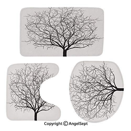 Three-Piece Toilet seat pad,an-Old-Withered-Oak-Crown-Without-Leaves-Tree-Branches-Illustration,for Bathroom,Black-and-White
