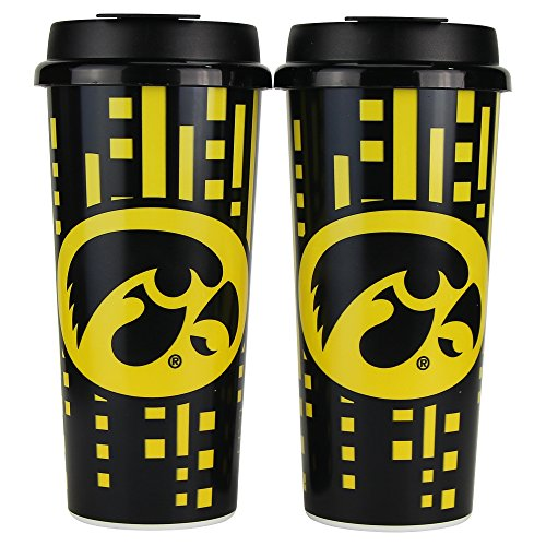 Whirley Drink Works NCAA Digital Full Color Plastic 16oz Travel Mug 2 Pack (Iowa -