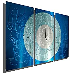 Vibrant Aqua & Silver Contemporary Hand-Painted Wall Clock - Metal Wall Art Sculpture - Home Accent Home Decor - Aqua Moon Clock by Jon Allen - 38-inch