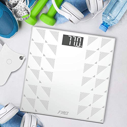 Digital Body Weight Bathroom Scale, FXQ High Precision Sensor Digital Bathroom Scale with Large Blue LCD Backlight Display, 8MM Shatter-Resistant Tempered Glass and Body Measuring Tape (White)