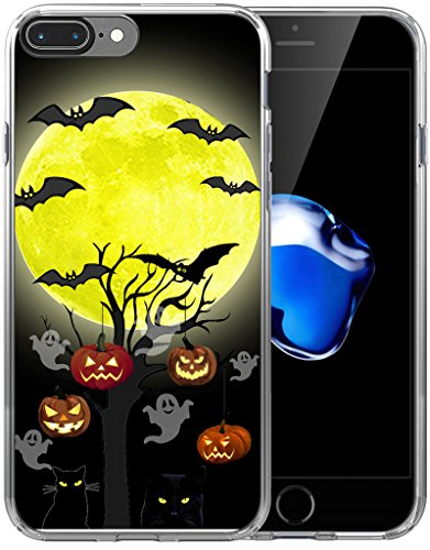(Case for iPhone 8 Plus Halloween Pumpkin/IWONE Designer Non Slip Rubber Durable Protective Skin Transparent Cover Shockproof Compatible for iPhone 7/8 Plus + Halloween Design Gift Present Cat)