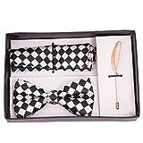 VIBHAVARI Men's Bow Tie, Pocket Square And Lapel Pin Set Free Size Black and White