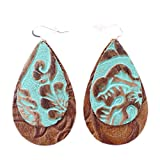 The Double Drop, Tooled Turquoise Over Tooled Brown, Leather Earring with Sterling Silver Hooks from OneWild, size medium.