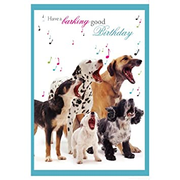Oh Assorted DOG Birthday Card With Sound Musical Barking Dogs Effect