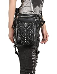 Steampunk Gothic Waist Bag Retro Rock Shoulder Bag Womens Vintage Leather Leg Bag