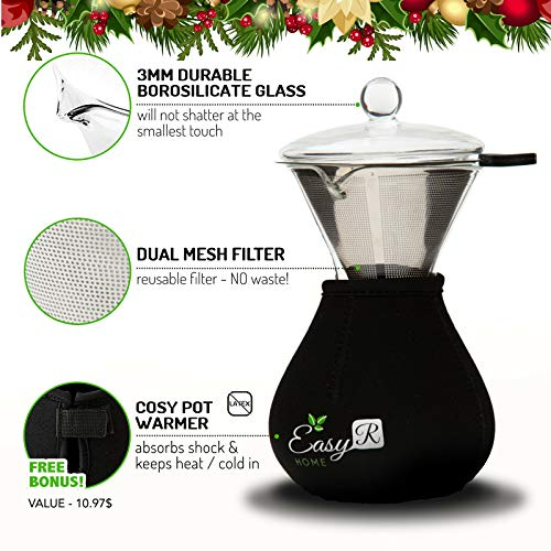 Glass Lid and Free Neoprene Pot Warmer to Keep Coffee Hot EasyR Life CO-400 EasyR Home Pour Over Brewer 14oz Coffee Maker Unlocks Superior Flavor with Reusable Paperless Stainless Steel Filter