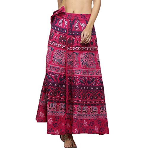 Lcoco&Dream Women's Bohemian Vintage A Line Wrap Long Maxi Skirt Hippie Boho Dresses Waist Adjustable
