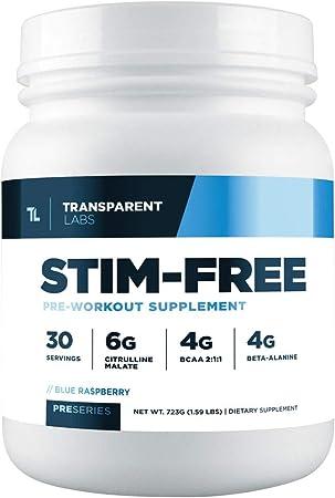 Transparent Labs Stimulant Free Pre-Workout, Natural, Caffeine Free, BCAA, Amino Acids, Keto Friendly, Energy Powder, Orange Flavor - 30 Servings