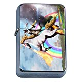 Unicorns Mythical Creature Flip Top Oil Lighter S2 Smoking Cigarette Smoker Includes Silver Case