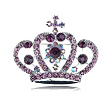 Purple Synthetic Amethyst Crystal Rhinestone Silvery Tone Royal Crown Design Pin Brooch