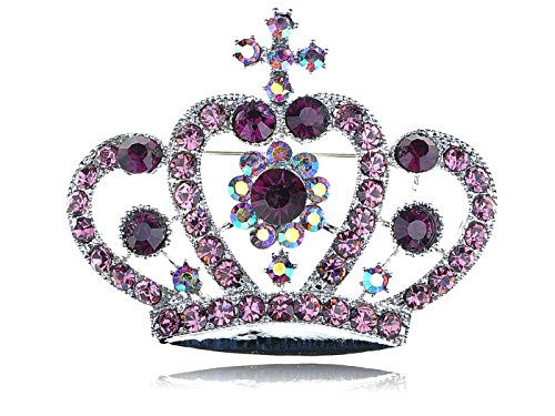 Alilang Amethyst Purple Colored Crystal Rhinestone Royal Princess Queen Crown Brooch Pin - Brooch Crown Pin Jewelry