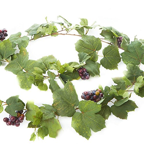 Grape Leaf Wine - Factory Direct Craft 6 Feet of Artificial Grape Leaf And Grape Cluster Garland