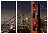 Picture Sensations Framed Huge 3-Panel San Francisco Golden Gate Bridge Giclee Canvas Art