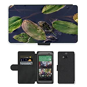 GoGoMobile PU LEATHER case coque housse smartphone Flip bag Cover protection // M00117978 Frog Pond Anfibio de la rana verde // HTC One M8