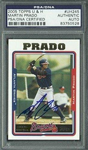 Braves Martin Prado Signed Card 2005 Topps U & H Rc #Uh245 Slabbed - PSA/DNA Certified - Baseball Slabbed Autographed Cards