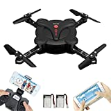 MOONBROOK Quadcopter Drone Model aircraft with Wifi FPV Camera and Live Video - 2.4 G 6-Axis Gyro 4 Channels Altitude Hold 3D Flips Headless Mode Foldable Pocket RC Drone with 2 Batteries (Black)