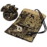 Serena Travel Set Jewelry Organizer Soft Silky Abstract Floral Print Gold Fabric Travel Roll Up and Matching Jewelry Pouch Bag