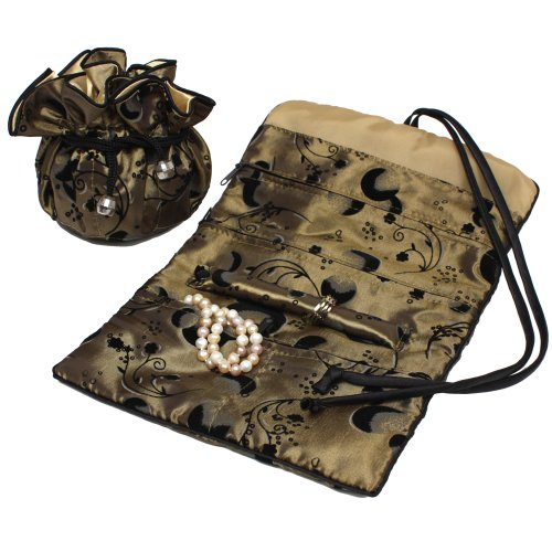 Serena Travel Set Jewelry Organizer Soft Silky Abstract Floral Gold