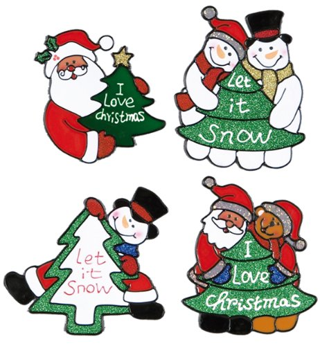 1 x 15 centimetre santa, snowman character window cling, 1 Design selected at random Premier
