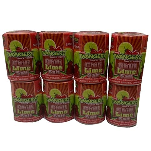 Twang Twangerz Chili Lime Salt   Chili Lime Flavored Snack Topping   Fruit and Veggie Toppings   1.15 oz Tubs   Pack of 8 Tubs