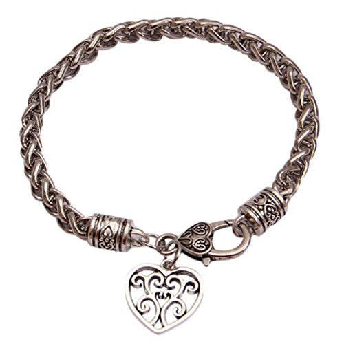 Molyveva Silver Plated Lobster Clasp Link Chain Bracelet with Love Dolphin Heart Pendant for Women Girls (Love Heart)