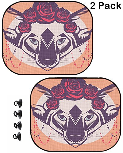MSD Car Sun Shade Protector Block Damaging UV Rays Sunlight Heat for All Vehicles, 2 Pack Image 30728555 Fashion Portrait of cat in a Wreath of Roses and Beads ()