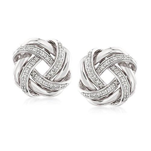 Ross-Simons 0.20 ct. t.w. Diamond Love Knot Earrings in Sterling Silver