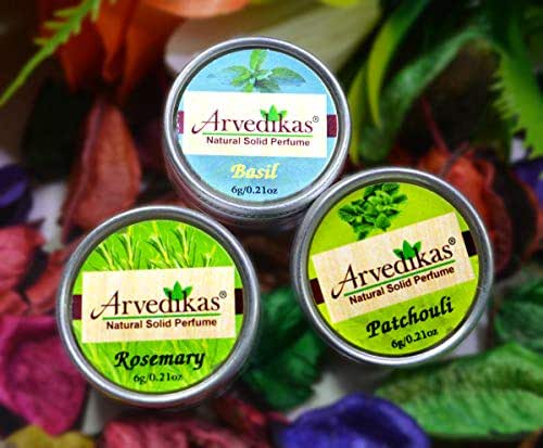 Arvedikas Natural Solid Perfume Beeswax/Mini Jar/Floral Fragrance/Women Aromatic Scent/Pocket Size Compact Cologne/Scented Balm/Parfum / 6gm (Set of 3pc) (Basil,Rosemary,Patchouli)