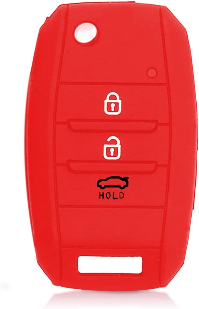 Silicone Protective Key Fob Cover Rally Stripe Red//Black kwmobile Car Key Cover Compatible with Kia 3-4 Button Car Key