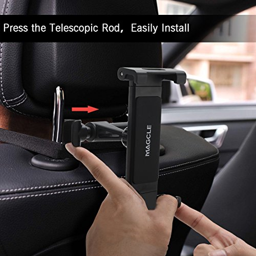 Car Headrest iPad Mount, Magcle iPhone Holder,Back Seat Tablet Stand Cradle [Upgrade] for iPad Pro 9.7, 10.5, Air mini 2 3 4, Nintendo Switch E-reader,Smart Phone, Tablets (4.7~13 inch) (black) by Magcle (Image #5)
