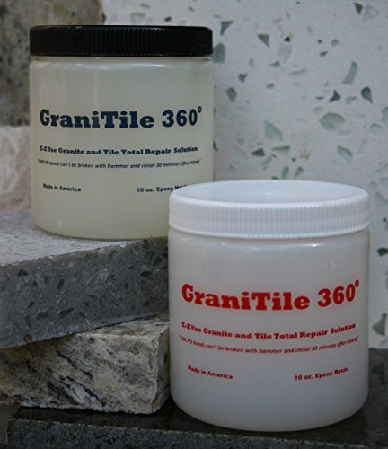 GraniTile 360~20 oz. knife-grade kit. Formulated specifically granite, tile, and ALL stone repair. Permanently and quickly repairs chips, large cracks, broken and missing pieces by Epox-Sci.