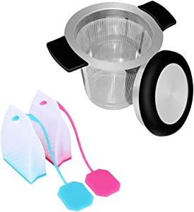 3pcs Stainless Steel & Silicone Tea Infuser, 2 Styles Loose Leaf Tea Strainer Filter Bag for Tea Cups, Mugs, Teapots (Fine Mesh, Reusable, Large and Small Capacity)