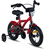 "PROMETHEUS Kids bike 12 inch Boys and Girls in Red & Black with stabilisers | Aluminum Calliper brake and backpedal brake | including security package | as from 3 years | 12"" BMX Edition 2018"
