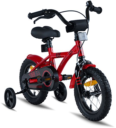 """PROMETHEUS Kids bike 12 inch Boys and Girls in Red & Black with stabilisers 