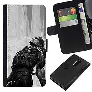 All Phone Most Case / Oferta Especial Cáscara Funda de cuero Monedero Cubierta de proteccion Caso / Wallet Case for LG G2 D800 // Metal Gear B&W