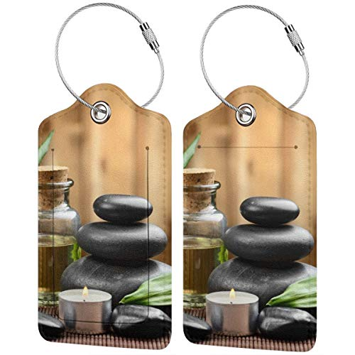 Zen Stone Herbal Oil Scent Candles Luggage Tag Label Travel Bag Label With Privacy Cover Luggage Tag Leather Personalized Suitcase Tag Travel Accessories ()