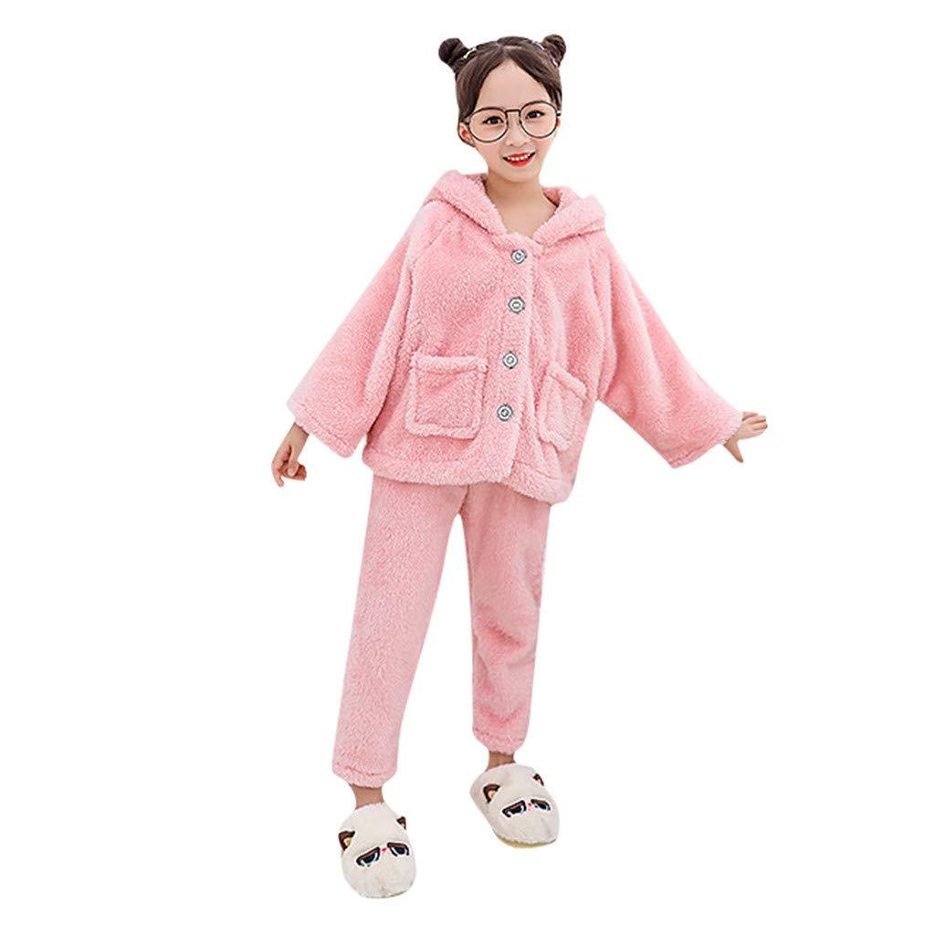 BFYOU Toddler Kid Girl Winter Faux Fur Ear Hooded Coat Coat Top Pants Warm Jacket Christmas Deer Top Pants Pants Set Pink by BFYOU_ Girl Clothing