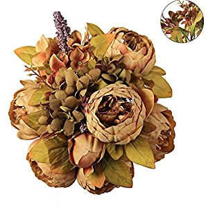 Luyue Vintage Artificial Peony Silk Flowers Bouquet, Coffee 74
