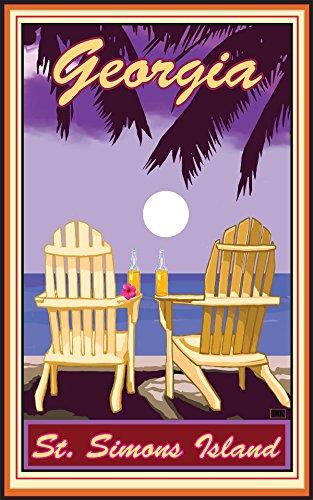 Georgia Adirondack Chairs Palms Corona Travel Art Poster by