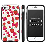 [Mobiflare] Slim Dual Layer Phone Case FITS i-Phone [7] [7S] [8] [Black/Black] Slim Dual Shock Phone Cover - [Strawberries]