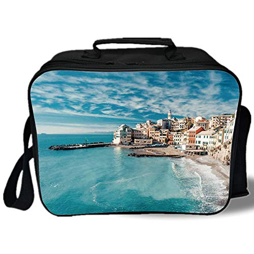 Insulated Lunch Bag,Farm House Decor,Panorama of Old Italian Fish Village Beach Old Province Coastal Charm Image,Turquoise,for Work/School/Picnic, ()