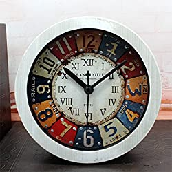 Distressed Imitation Wood Grain Vintage Silent Non-ticking Quartz Travel Alarm Clock White