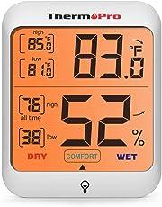 ThermoPro TP53 Igrometro Termometro Interno, Digitale Misuratore di Umidità e Temperatura Ambiente con Ampio Display LCD Retroilluminato, Termoigrometro Monitor di Comfort Casa Stanza