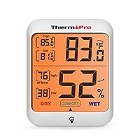 ThermoPro TP53 Thermomètre Hygromètre Intérieur Numérique - Écran LCD avec Rétro-éclairage, Mémoire de Température et Humidité Max/Min