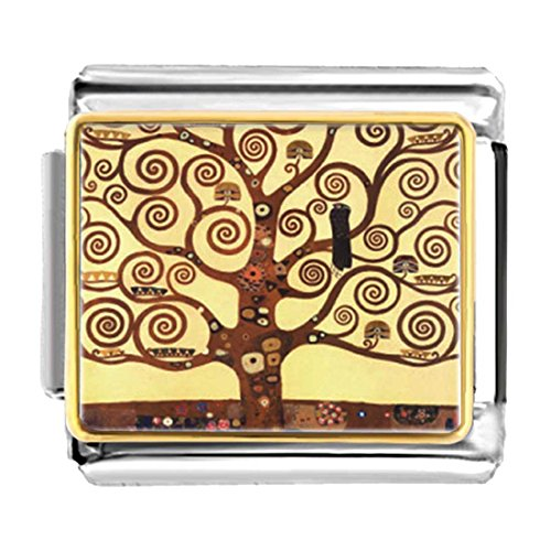 GiftJewelryShop Gold Plated The Tree of Life Painting Bracelet Link Photo Italian Charm